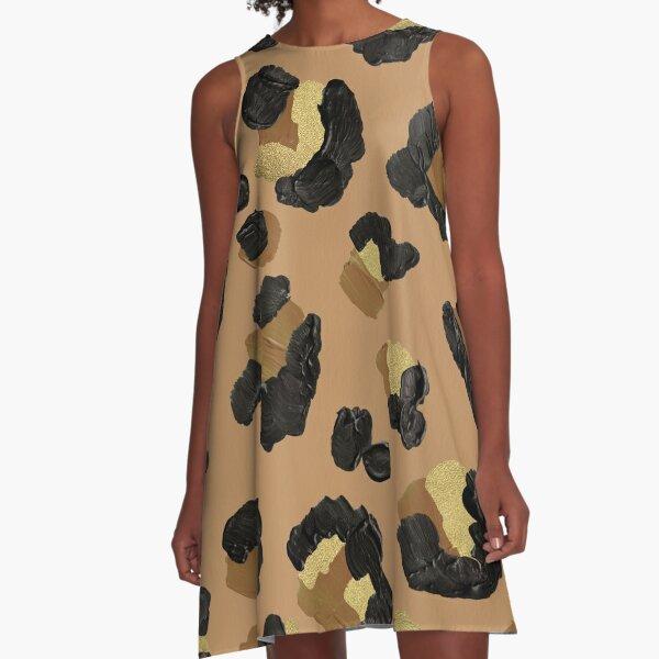 Leopard Print – Neutral & Gold Palette A-Line Dress