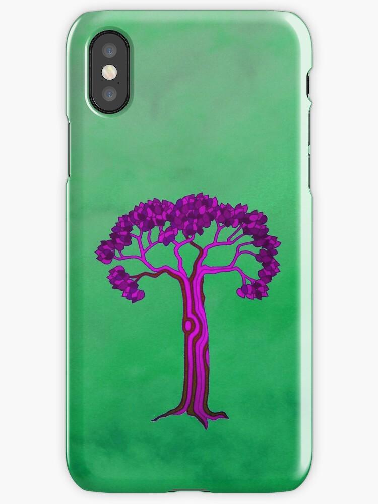 Purple tree on green 2 by KatDoodling