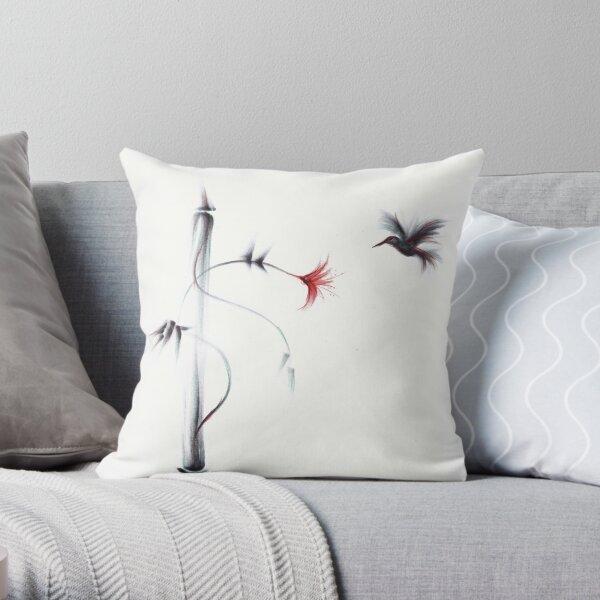 Sweetness - Hummingbird & Flower Painting Throw Pillow