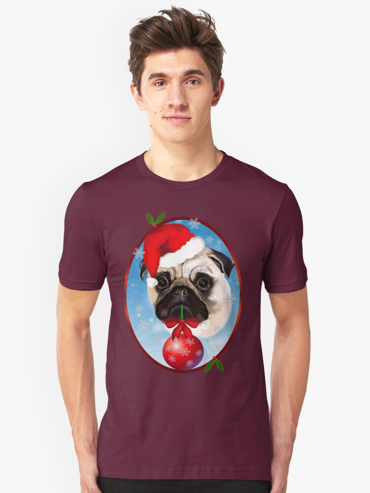 A Very Merry Christmas Pug Oval Unisex T-Shirt Front