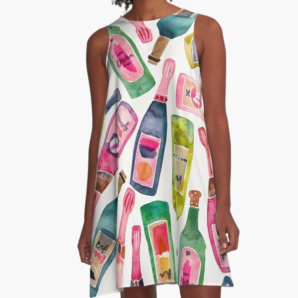 Champagner-Sammlung A-Linien Kleid