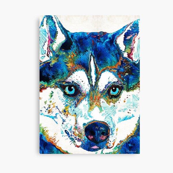 Colorful Husky Dog Art by Sharon Cummings Canvas Print
