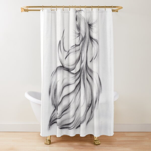 Belladonna - Charcoal pencil drawing of a Betta Fighting Fish Shower Curtain