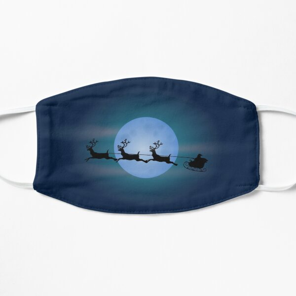 Santa flying in front of the moon in his sleigh Mask