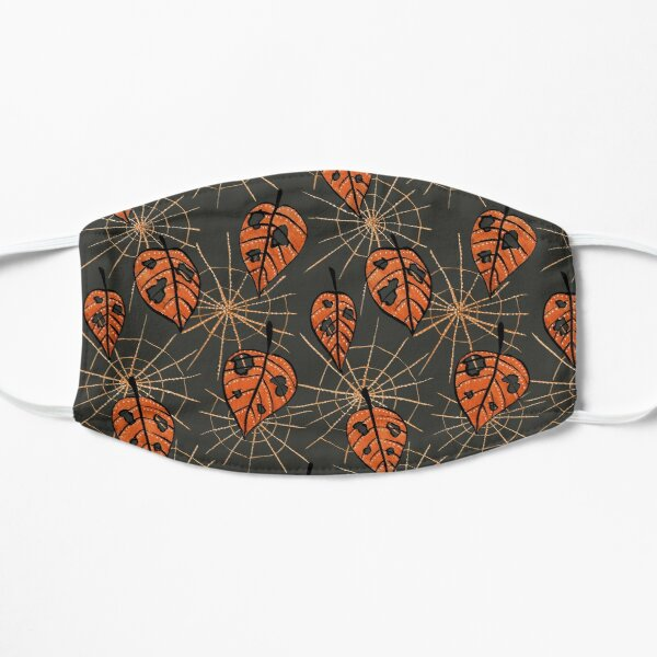 Orange Leaves With Holes And Spiderwebs Mask