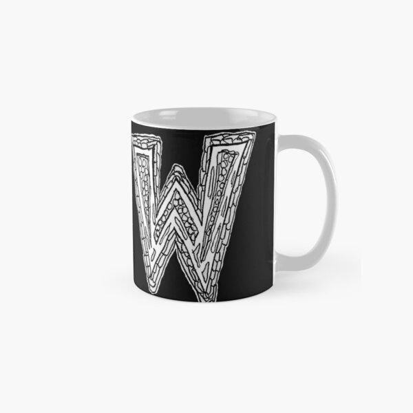 Upper case black and white alphabet Letter W Classic Mug