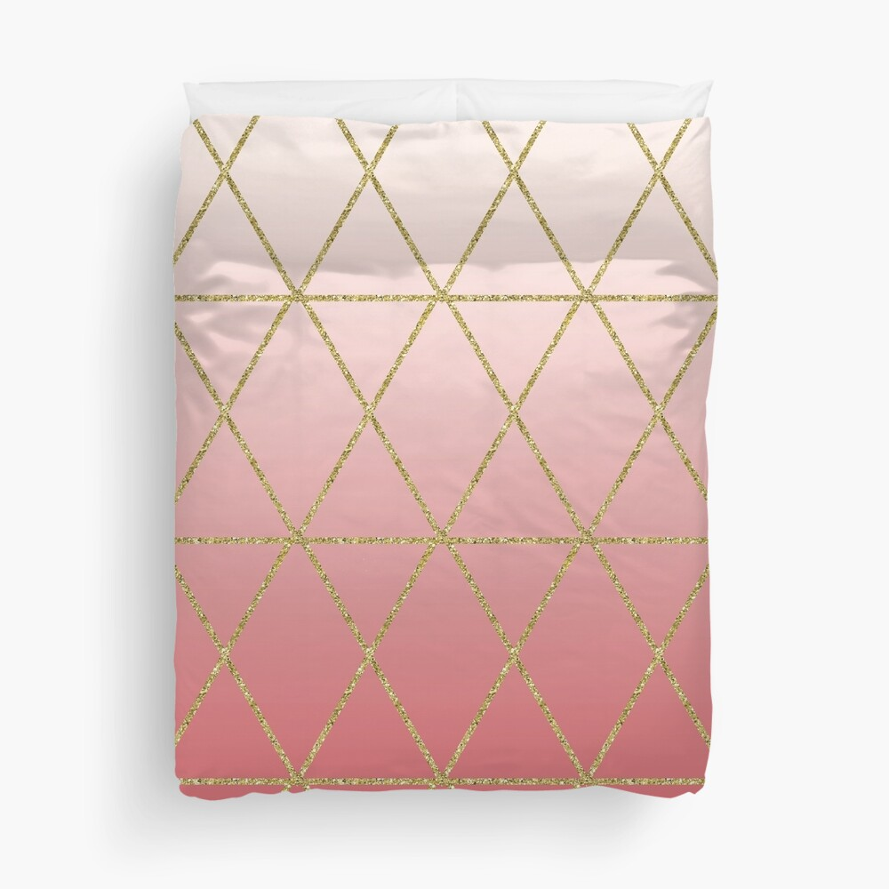 Rose Gold Geometric Duvet Cover