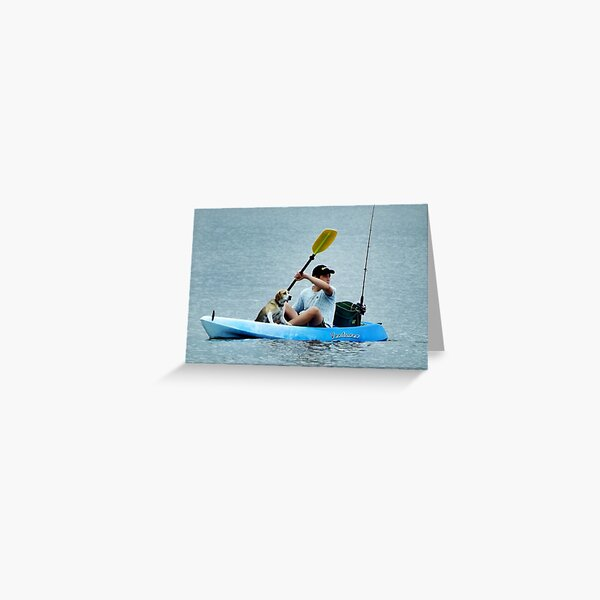 A Boy, His Boat, His Dog & Rod.  Greeting Card