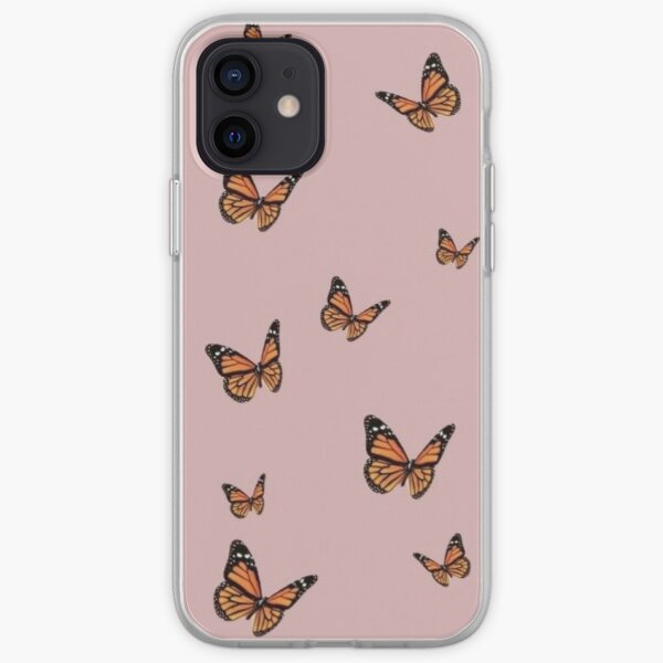 Monarch Butterflies with Pink Background iPhone Soft Case