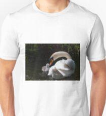 First swim! swan chick and male swan, Tinnahich, County Carlow, Ireland Unisex T-Shirt