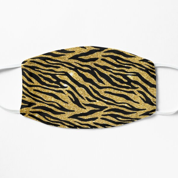 Faux Gold Glitter Tiger Stripe Pattern Mask