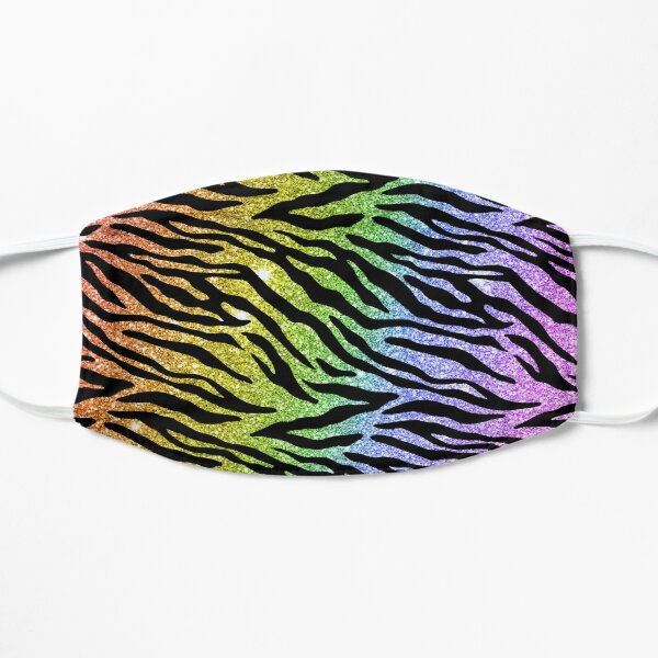 Faux Rainbow Glitter Tiger Stripe Pattern Mask