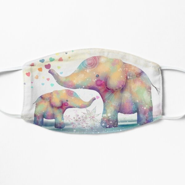 elephant affection Flat Mask