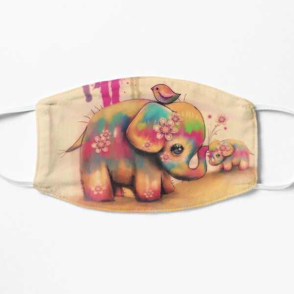 vintage tie dye elephants Mask