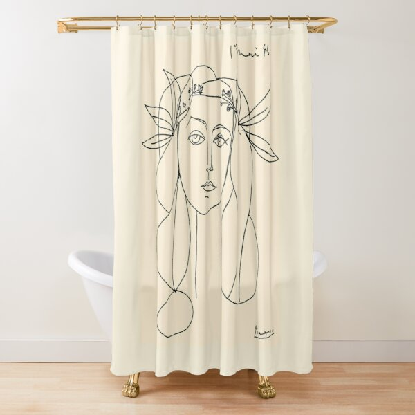 HEAD 1946 : Vintage Abstract Print Shower Curtain
