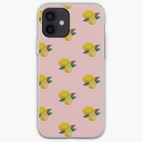 Baby Pink Lemon Watercolor iPhone Soft Case