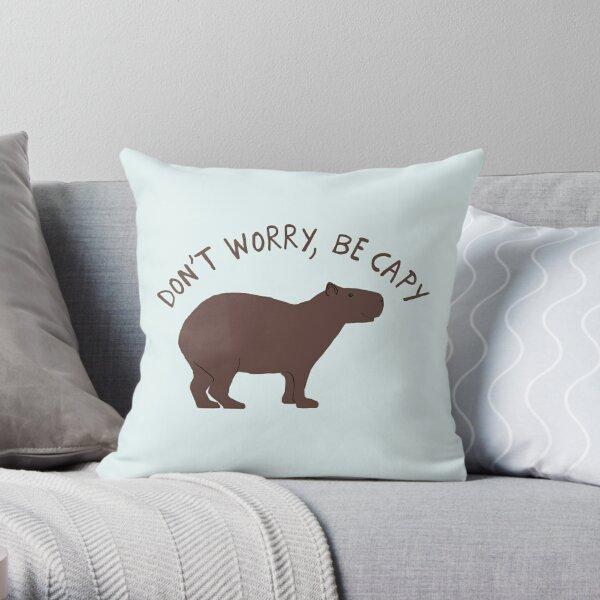 Don't Worry, Be Capy (Capybara) Throw Pillow
