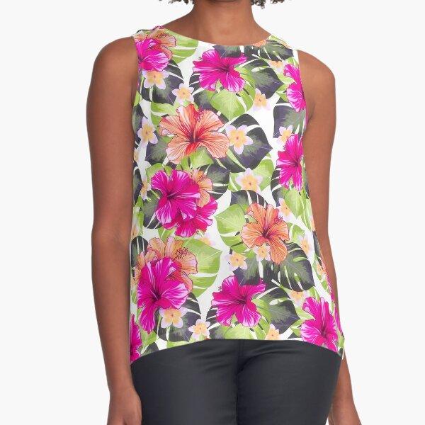 Hibiscus Pattern  Sleeveless Top