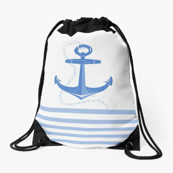 AFE Dark Blue Nautical Anchor Drawstring Bag