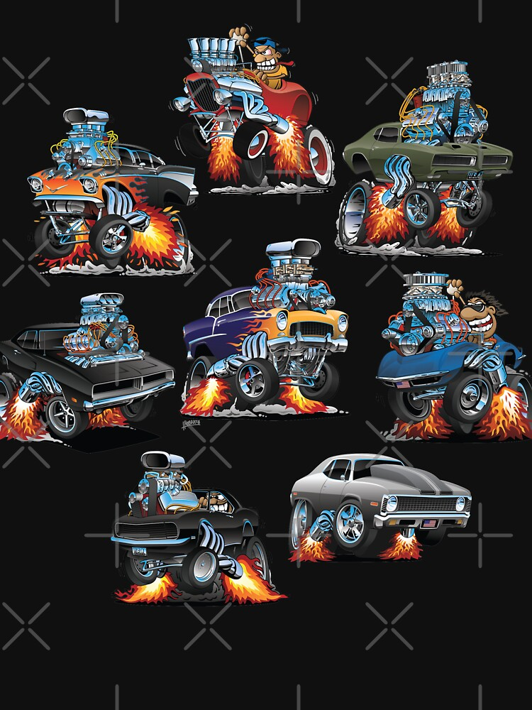 Car Crazy Classic Hot Rod Muscle Cars Cartoons by hobrath