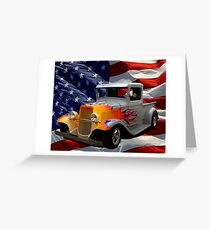 """1931 Ford """"Flamed"""" Hot Rod Pickup Truck Greeting Card"""
