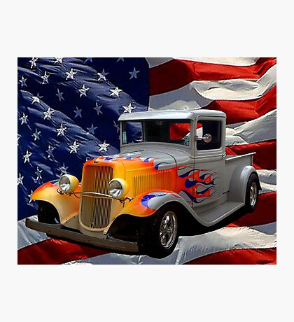 "1931 Ford ""Flamed"" Hot Rod Pickup Truck Photographic Print"