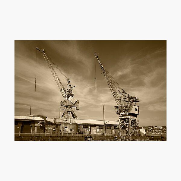 Cockatoo Dock Crane Twins Photographic Print