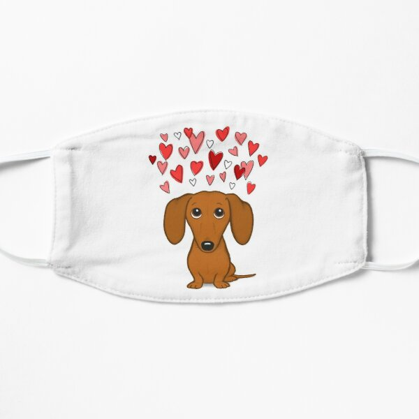 Cute Dachshund with Hearts Flat Mask