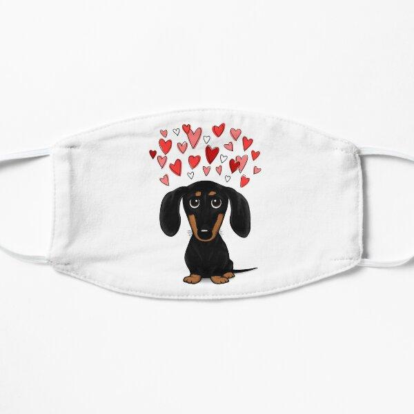 Black and Tan Dachshund with Valentine Hearts   Cute Cartoon Wiener Dog Flat Mask