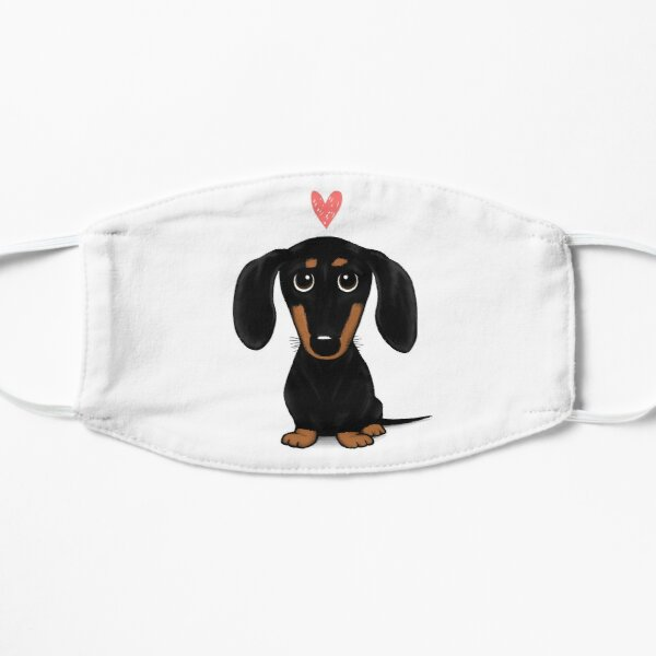 Black and Tan Dachshund with Heart | Cute Cartoon Wiener Dog Mask