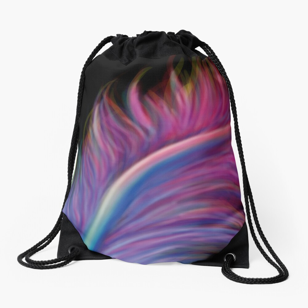 Feather pen drip Drawstring Bag