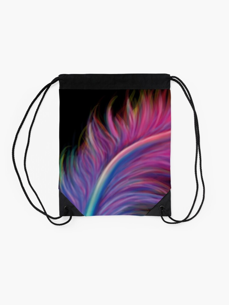 Alternate view of Feather pen drip Drawstring Bag