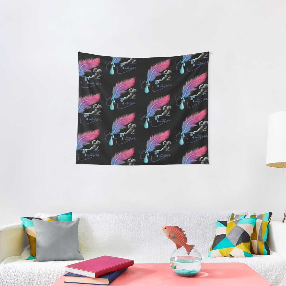 Feather pen drip Tapestry