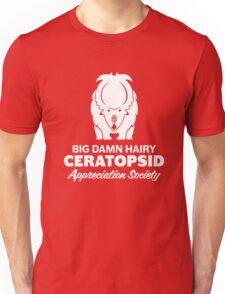 Big Damn Hairy Ceratopsid Appreciation Society (white on dark) T-Shirt