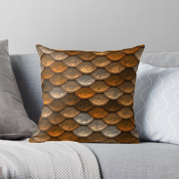 Shimmering  scale pattern in brown and copper tones Throw Pillow