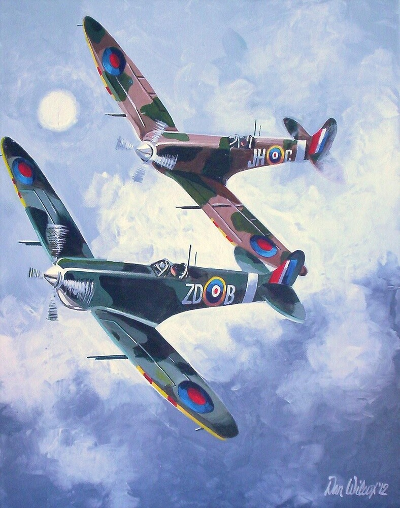 Spitfire Mustang out of the clouds by Dan Wilcox
