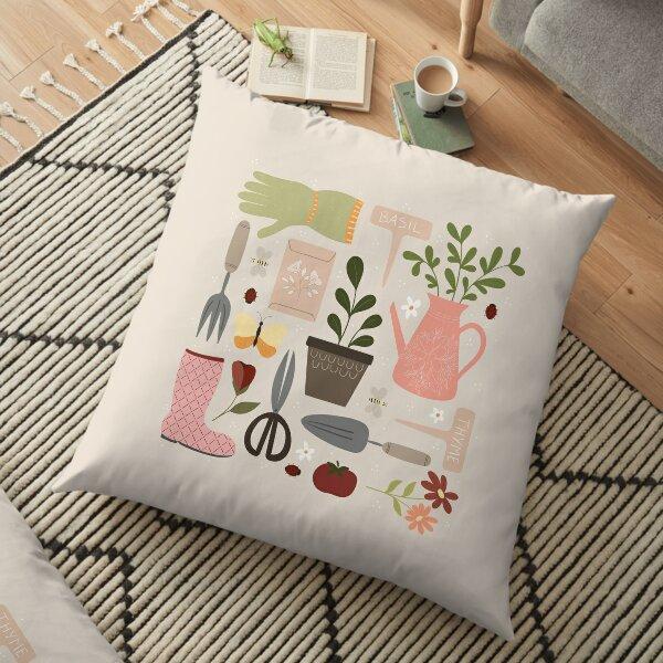 Outils de jardinage, plantes, illustration d'insectes, fleurs et feuilles dessin de jardin Coussin de sol