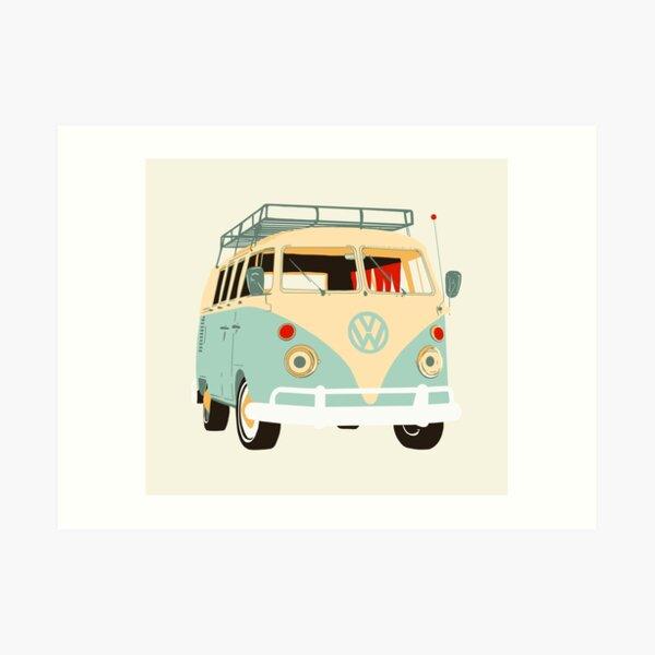 Green and beige Van vw  Art Print