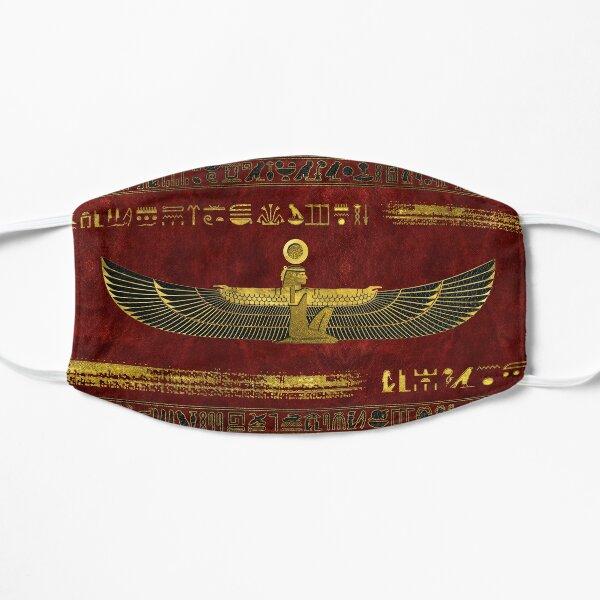 Adorno de dios egipcio dorado sobre cuero rojo Mascarilla plana