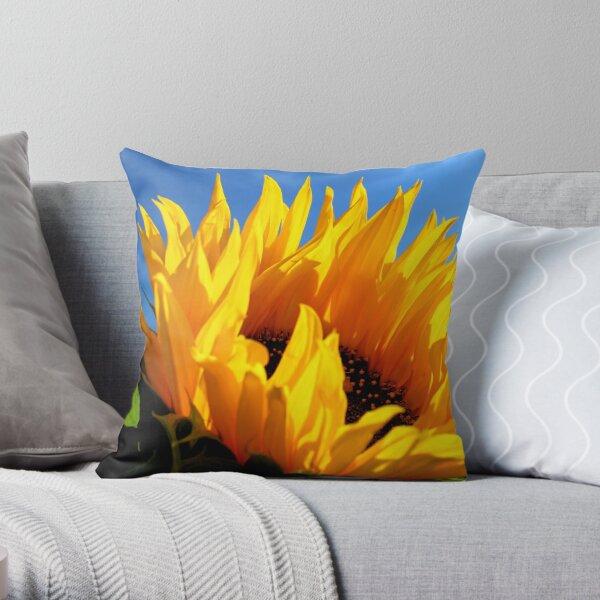 Sunflower against a blue sky Throw Pillow