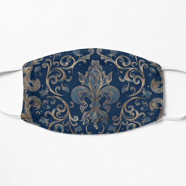 Ornement Fleur de Lys Marbre Bleu et Or Masque sans plis