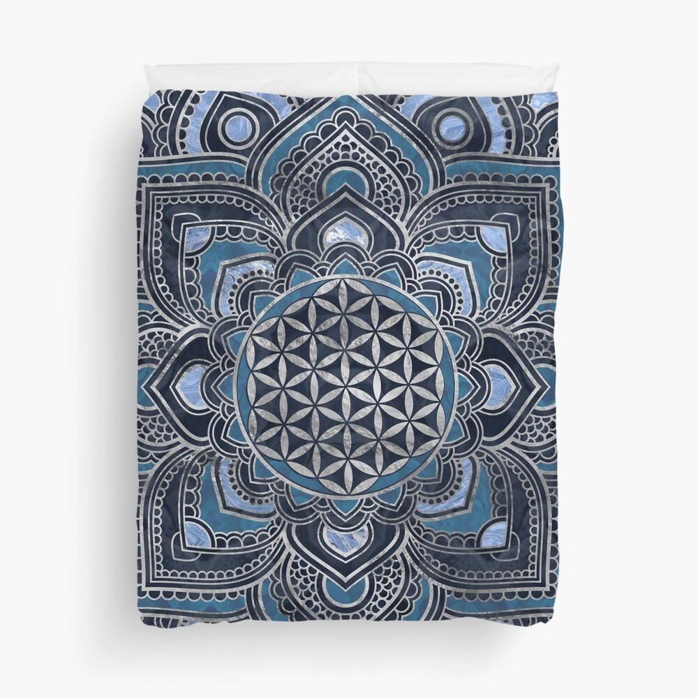 Flower of Life in Lotus Mandala - Blue Crystal and Silver Duvet Cover
