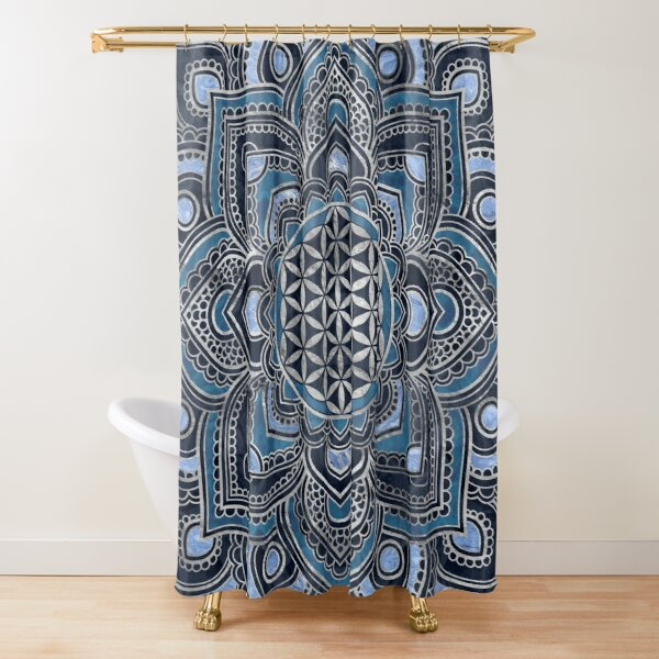 Flower of Life in Lotus Mandala - Blue Crystal and Silver Shower Curtain