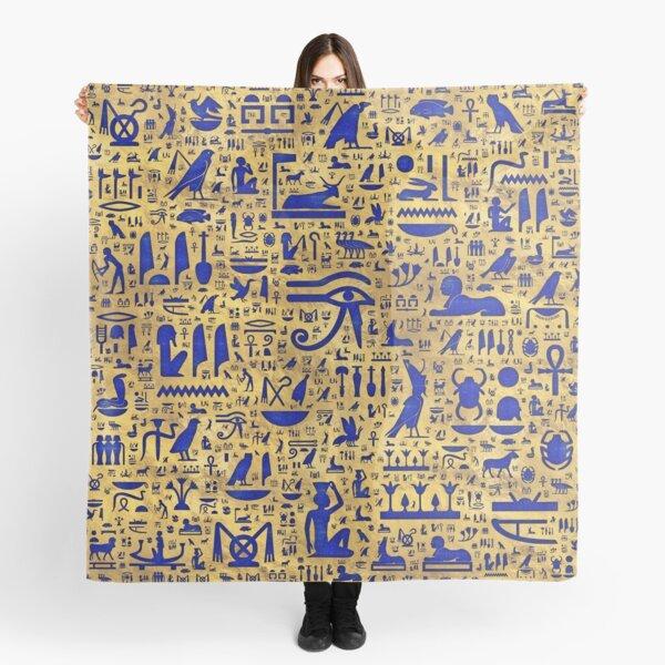 Egyptian hieroglyphic Lapis Lazuli and Gold Scarf