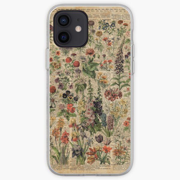 Colourful Wild Meadow Flowers Over Vintage Dictionary Book Page iPhone Soft Case