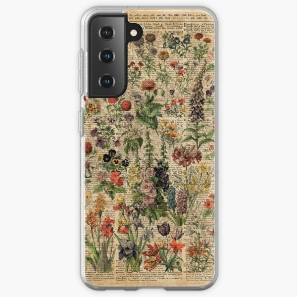 Colourful Wild Meadow Flowers Over Vintage Dictionary Book Page Samsung Galaxy Soft Case