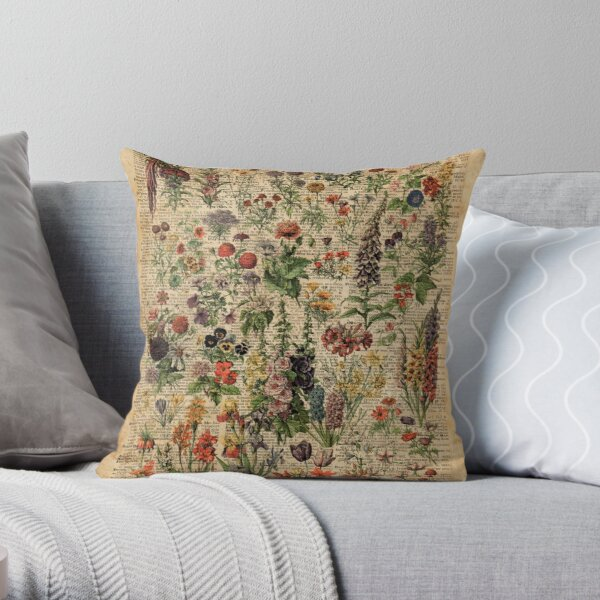 Colourful Wild Meadow Flowers Over Vintage Dictionary Book Page Throw Pillow