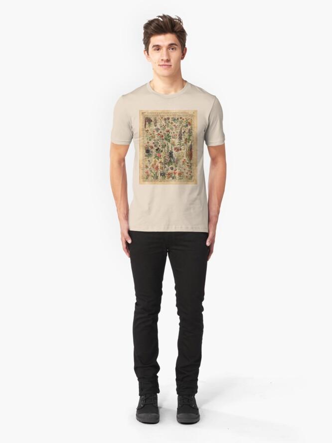 Alternative Ansicht von Bunte wilde Wiesenblumen über Weinlese-Wörterbuch-Buch-Seite Slim Fit T-Shirt