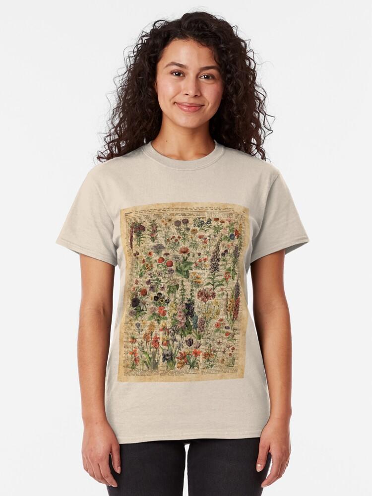 Alternative Ansicht von Bunte wilde Wiesenblumen über Weinlese-Wörterbuch-Buch-Seite Classic T-Shirt