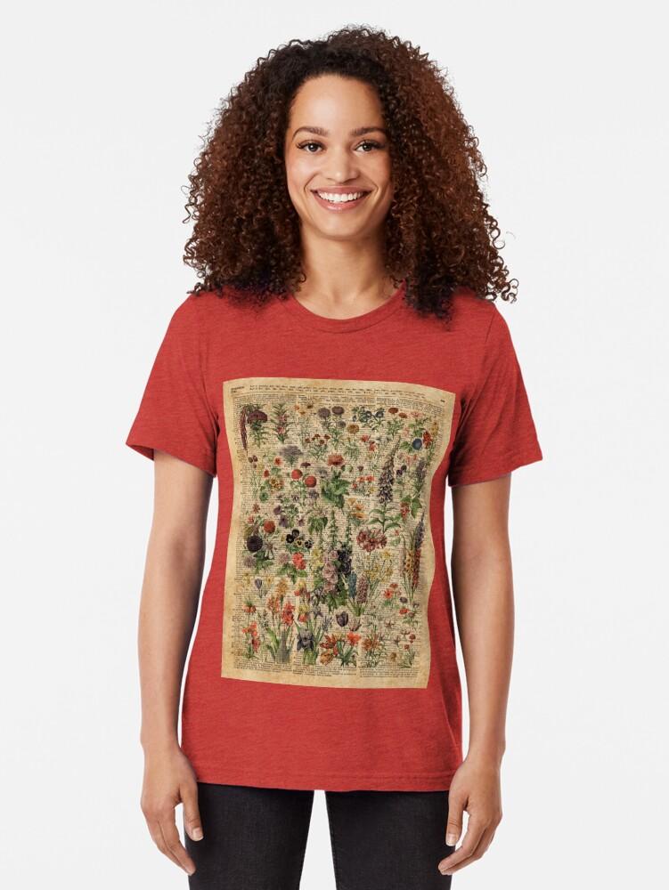 Alternative Ansicht von Bunte wilde Wiesenblumen über Weinlese-Wörterbuch-Buch-Seite Vintage T-Shirt